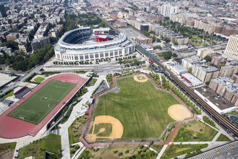 Yankee Stadium från luft royaltyfri foto