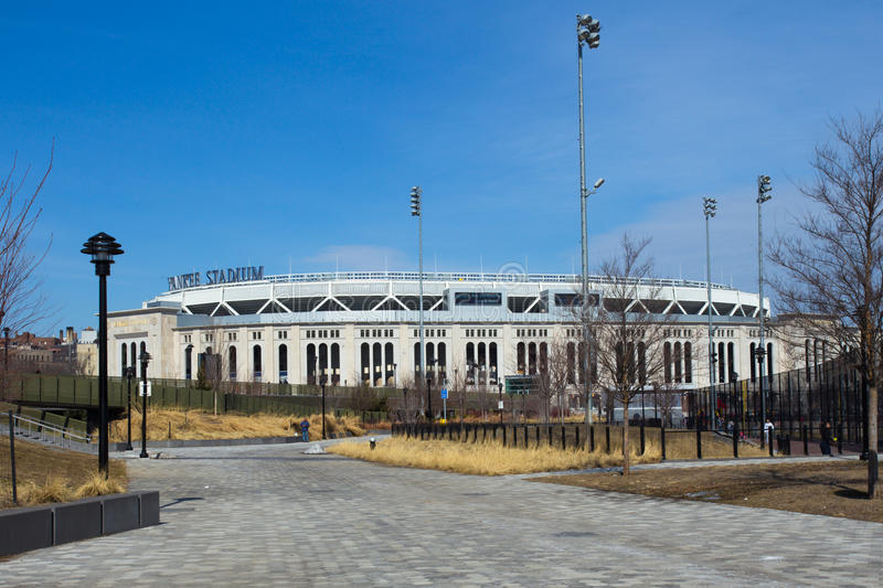 Yankee Stadium NYC. Bronx, New York City, USA - March 8, 2014: View of Yankee Stadium in the South Bronx in New York City. It is the home ballpark for the New royalty free stock photo
