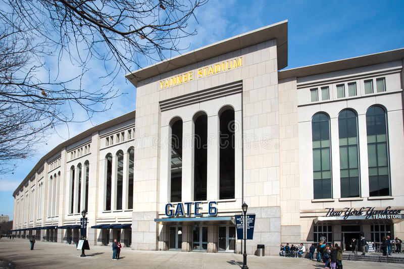 Yankee Stadium NYC. Bronx, New York City, USA - March 8, 2014: View of Yankee Stadium in the South Bronx in New York City. It is the home ballpark for the New royalty free stock images