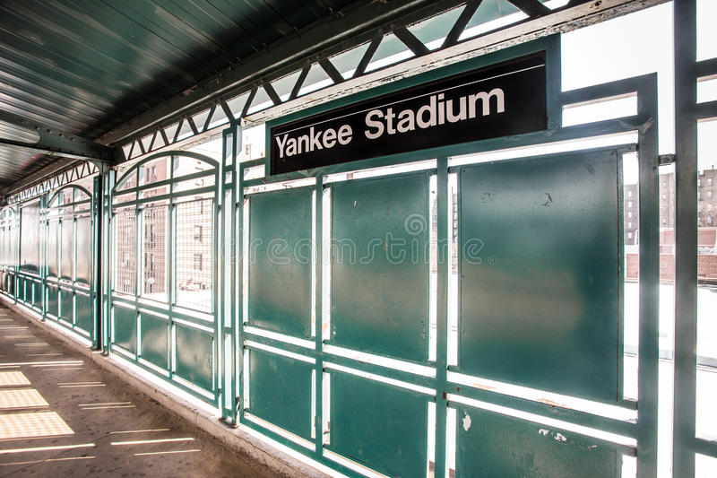 Yankee Stadium Train Station. BRONX, NEW YORK CITY - MARCH 8: Train platform at NY Yankee Stadium. Yankee Stadium in located in the South Bronx of NYC stock photos