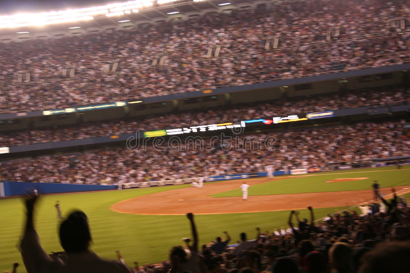 Yankees Stadium. A sweeping view of the fans at Yankees stadium
