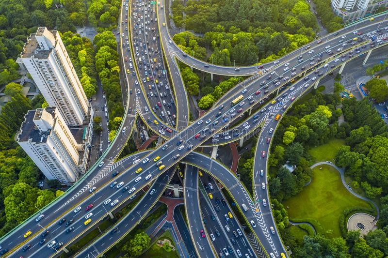 Yanzhong Greenland. Is located in the center of Shanghai, China, next to the Yan`an Middle Road Interchange. The surrounding high-rise buildings are full of
