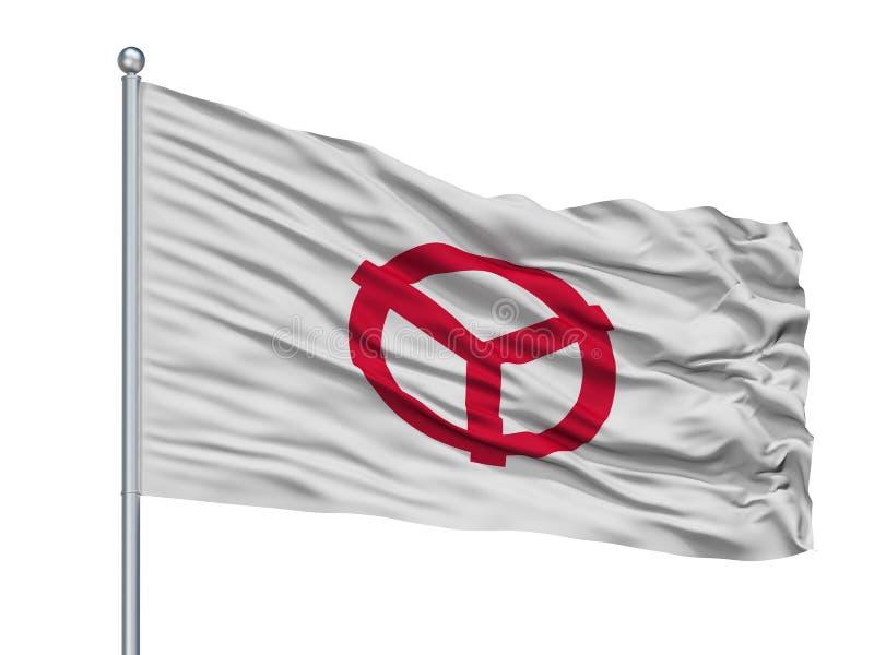Yao City Flag On Flagpole, Japon, Osaka Prefecture, d'isolement sur le fond blanc illustration stock