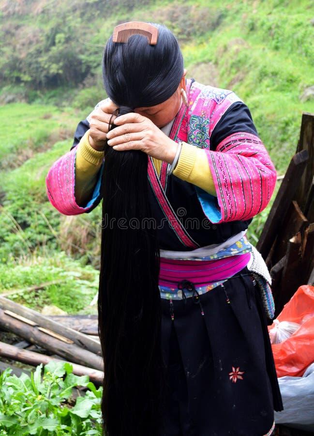 Yao lady Longsheng Town. Long haired yao lady at Longsheng Town, Guangxi, near Guilin royalty free stock images