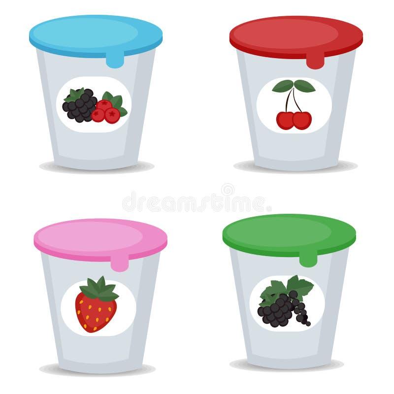 Yaourt aux fruits dans des boîtes en plastique illustration de vecteur