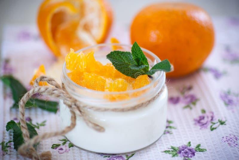 Yaourt avec des mandarines photographie stock libre de droits