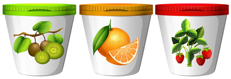 Yaourt avec la saveur différente des fruits illustration de vecteur