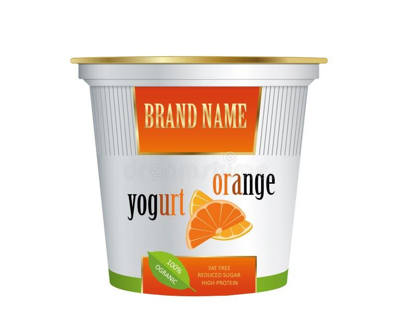 Yaourt de empaquetage de calibre avec l'orange Vecteur d'isolement sur le fond blanc illustration de vecteur