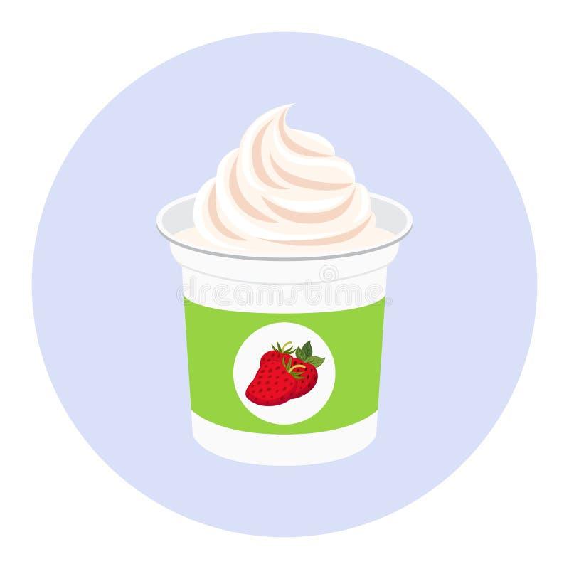 Yaourt de fraise dans la tasse en plastique Produit crème de lait Style plat illustration libre de droits