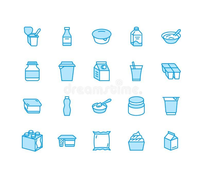 Yaourt empaquetant la ligne plate icônes Laitages - bouteille à lait, crème, képhir, illustrations de fromage Signes bleus minces illustration libre de droits