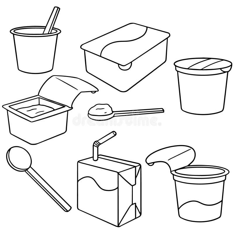 Yaourt et lait illustration de vecteur