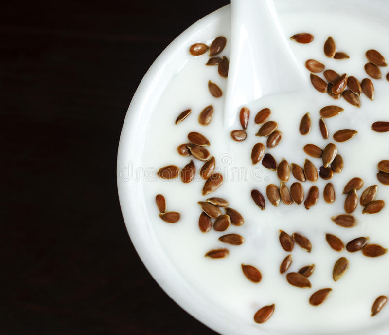 Yaourt frais avec des graines de lin photographie stock libre de droits