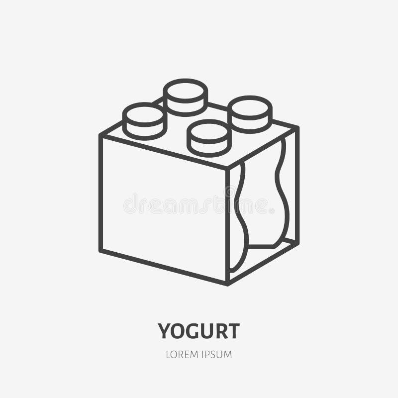 Yaourt, lait dans le logo plat de paquet en plastique de bouteille, icône de petit déjeuner Illustration de vecteur de laitages S illustration stock