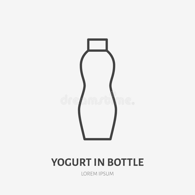 Yaourt, lait dans le logo plat de paquet en plastique de bouteille, icône de petit déjeuner Illustration de vecteur de laitages S illustration de vecteur