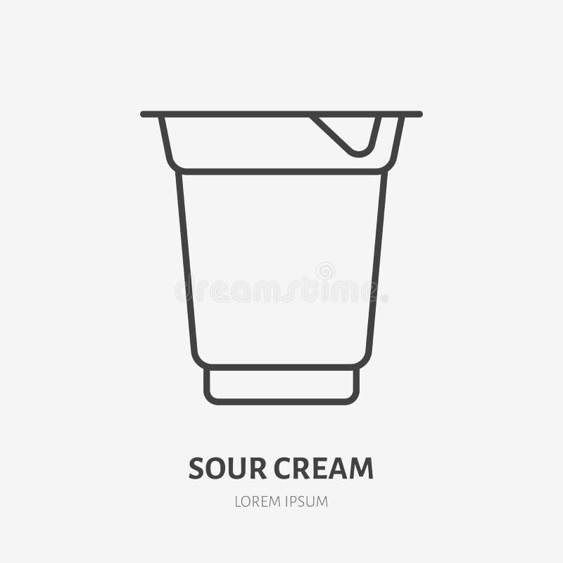 Yaourt, ligne plate logo, icône de vecteur de crème sure Illustration de laitages Signe pour le magasin de nourriture sain illustration stock