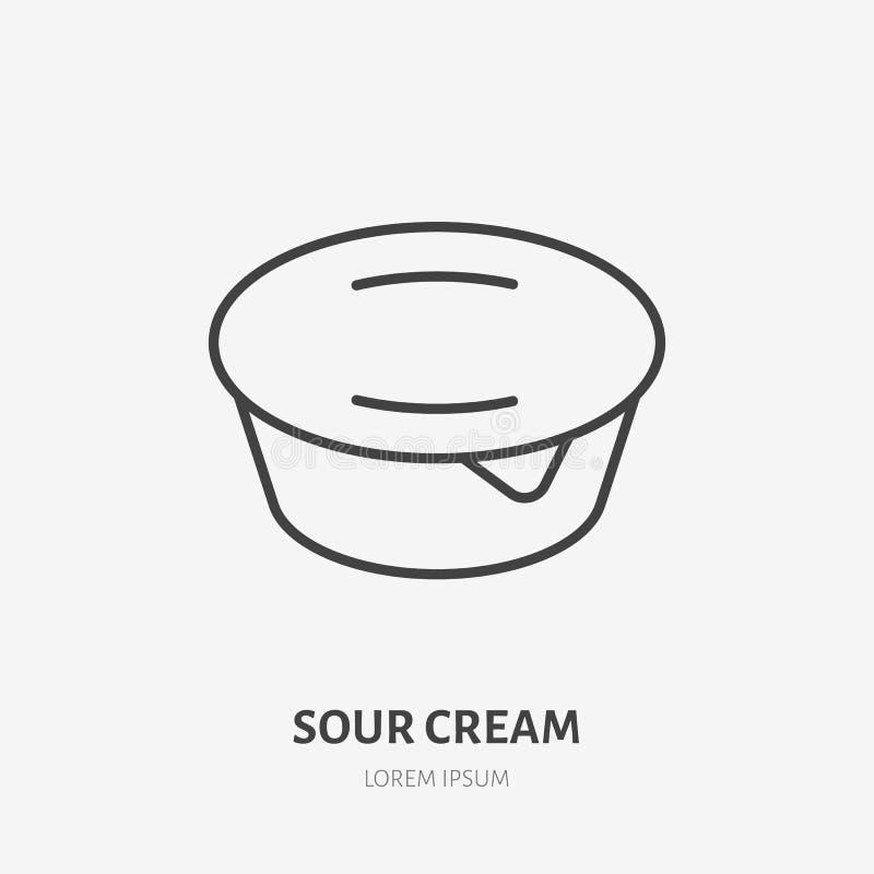 Yaourt, ligne plate logo, icône de vecteur de crème sure Illustration de laitages Signe pour le magasin de nourriture sain illustration de vecteur