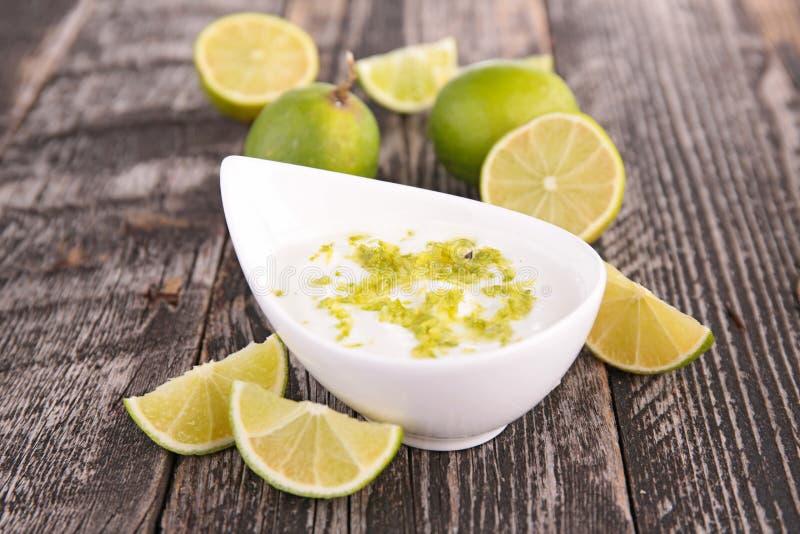 Yaourt sauce. Bowl of yaourt sauce with lemon royalty free stock photos