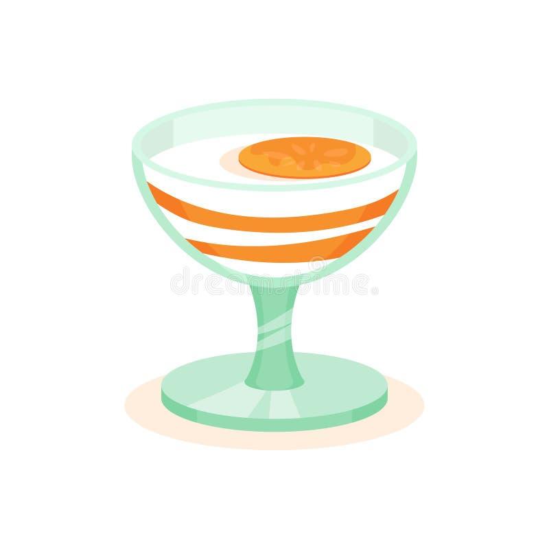Yaourt savoureux avec le kaki en verre Dessert appétissant de fruit Thème doux de nourriture Icône plate de vecteur illustration de vecteur