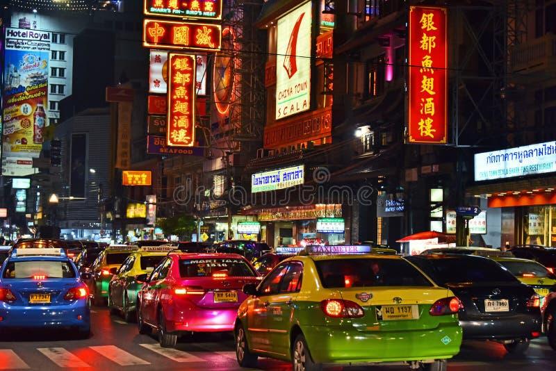 Yaowarat Road, the main street of Chinatown in Bangkok Thailand royalty free stock images