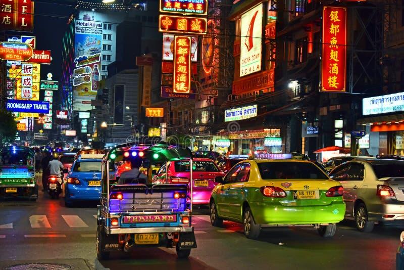 Yaowarat Road, the main street of Chinatown in Bangkok Thailand stock image