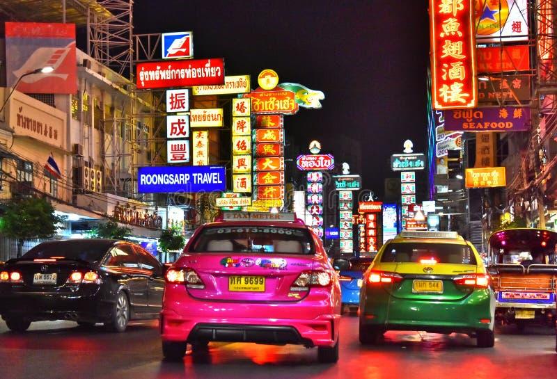 Yaowarat Road, the main street of Chinatown in Bangkok Thailand royalty free stock photos