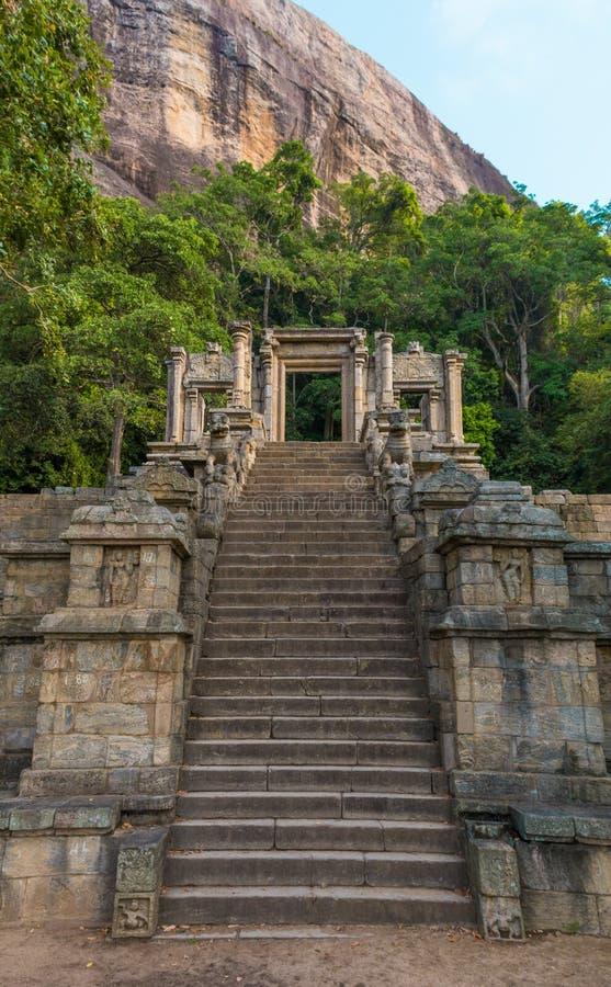 Yapahuwa,斯里兰卡城堡  免版税库存图片