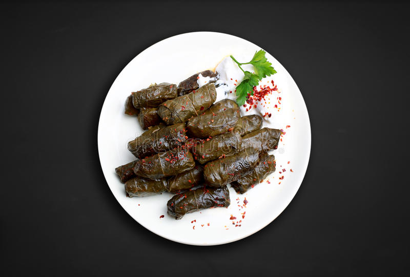 Yaprak sarma. A food flavor in Turkish cuisine. Turkish cuisine, is one of almost every dish in the region stock photography