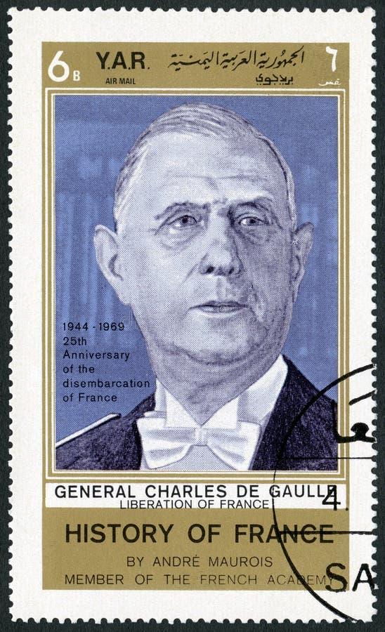 YAR - 1969: shows Charles de Gaulle 1890-1970, politician. YAR - CIRCA 1969: A stamp printed in Yemen Arab Republic shows Charles de Gaulle 1890-1970, politician royalty free stock image