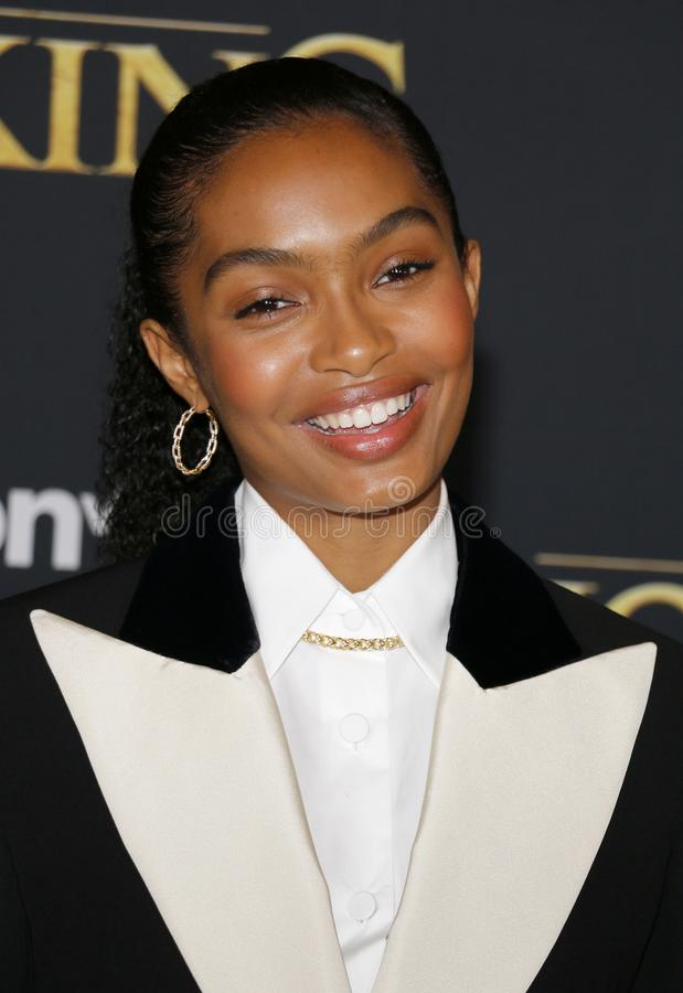 Yara Shahidi. At the World premiere of `The Lion King` held at the Dolby Theatre in Hollywood, USA on July 9, 2019 stock photo