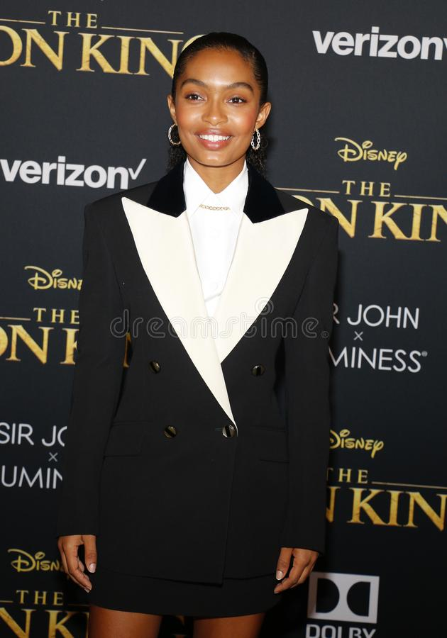 Yara Shahidi. At the World premiere of `The Lion King` held at the Dolby Theatre in Hollywood, USA on July 9, 2019 stock images