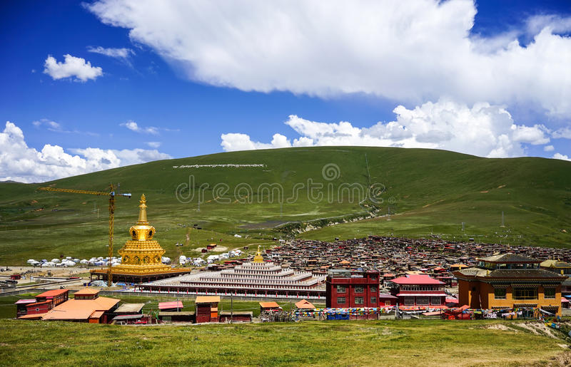 Yarchen Gar Monastery in Sichuan, China. Sichuan, China - Aug 18, 2016. View of Yarchen Gar Monastery in Garze Tibetan, Sichuan, China. Yarchen Gar is the stock photos