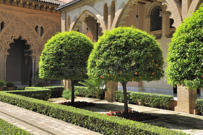 The yard of Aljaferia palace stock images