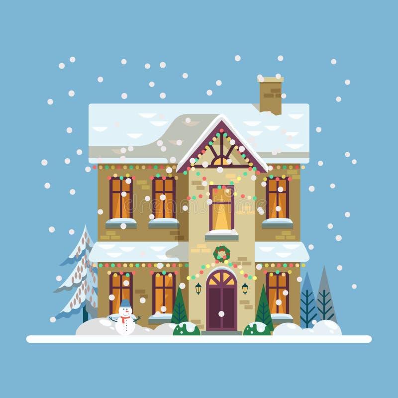 Yard avec la maison décorée pendant 2019 nouvelles années, Noël illustration stock