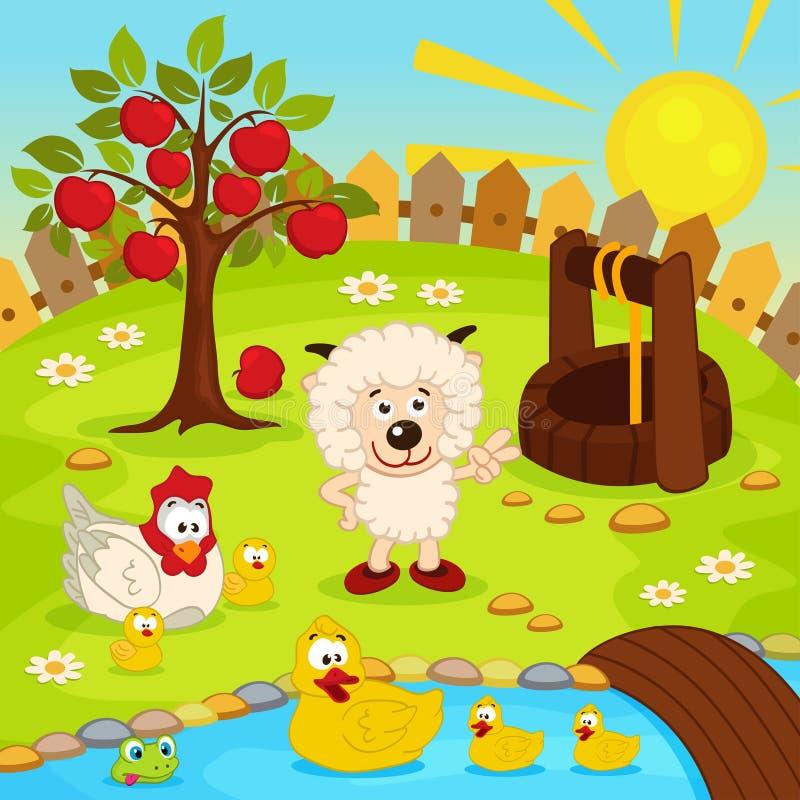 Yard avec les animaux et l'étang illustration stock