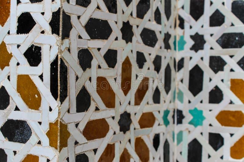 Yard binnen Bou Inania Madrasa stock afbeelding
