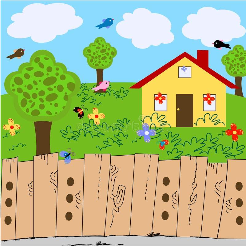 Yard d'horizontal de nature avec la maison illustration libre de droits