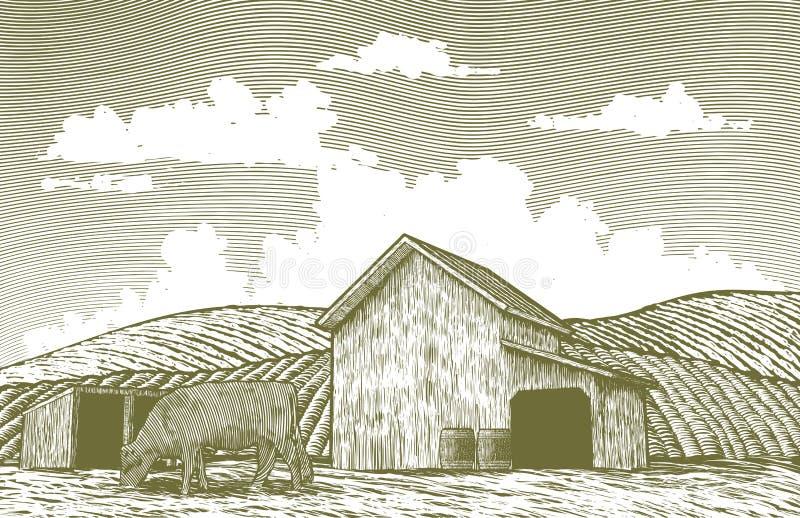 Yard de grange de gravure sur bois illustration de vecteur