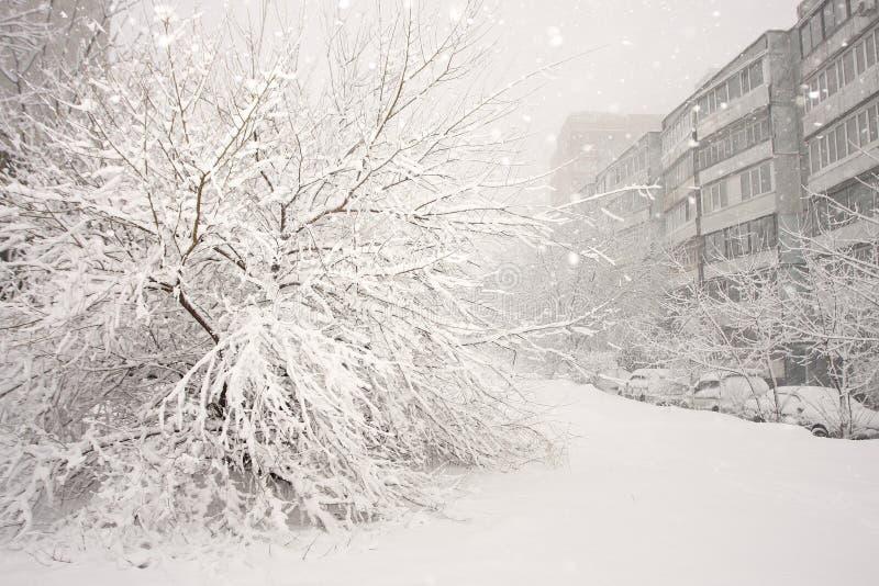 Yard de ville d'hiver photo stock