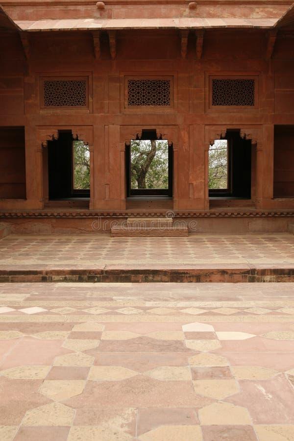 Yard des verlassenen Tempels in Fatehpur Sikri, Indien stockfoto