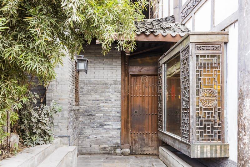 Yard door in ZHAIXIANGZI alley (Narrow Alley) scenery stock images