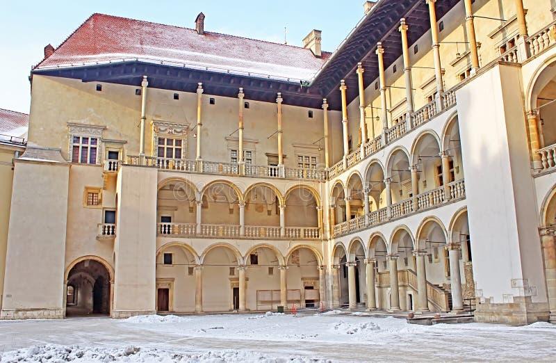 Yard of famous Wawel castle in Krakow. Poland royalty free stock photo