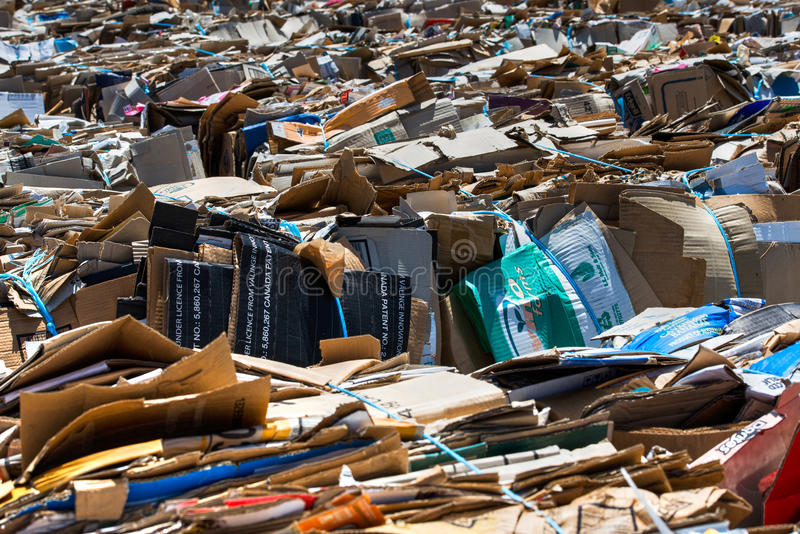 A Yard full of corrugated Cardboard for recycling royalty free stock images
