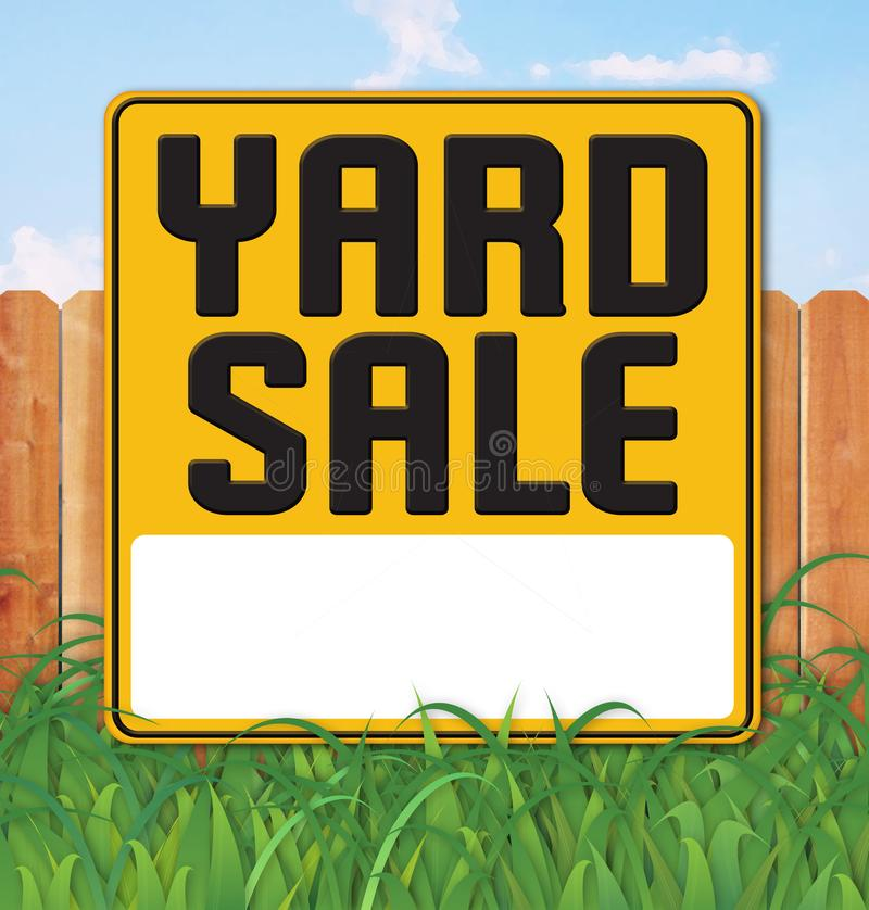 Yard Garage Sale Sign Backyard Fence Grass. Sky fun vector announcement flyer poster art logo royalty free illustration