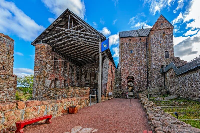 Yard intérieur de château de Kastelholm sur des îles d'Aland en Finlande image libre de droits