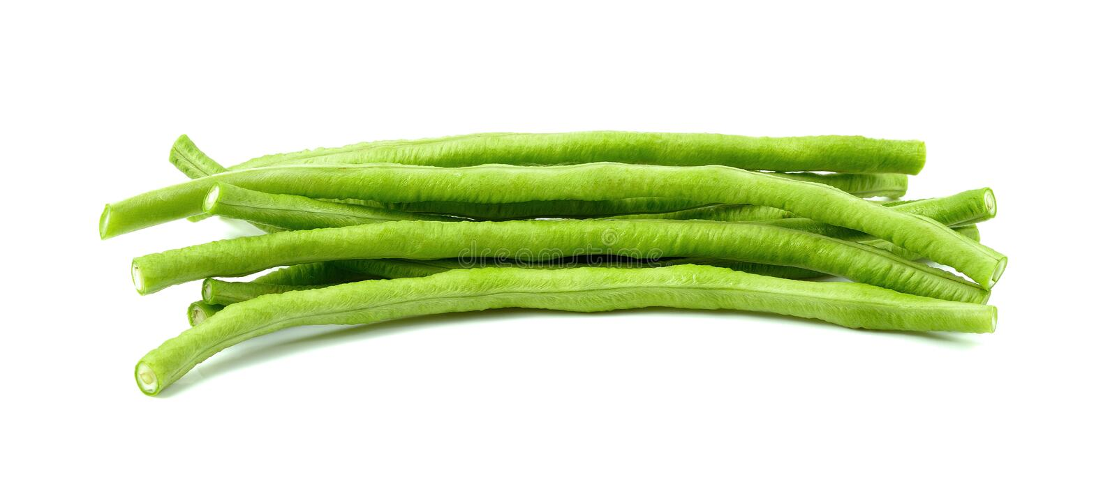 Yard long bean, A bunch of freshly picked cowpea isolated on white stock image