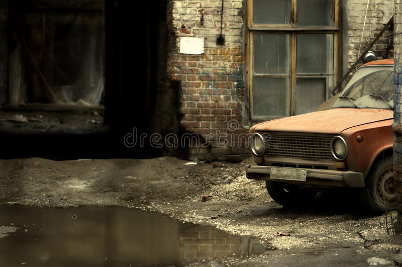 Yard With Old Car Royalty Free Stock Photo