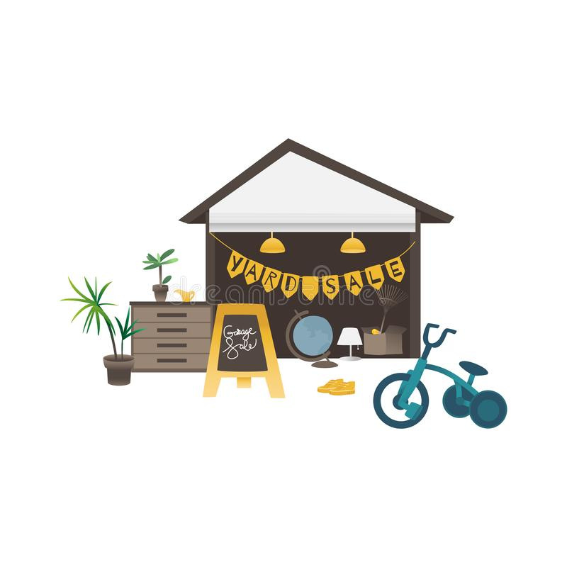 Free Yard Or Garage Sale Banner With Household And Sport Items Flat Vector Isolated. Royalty Free Stock Photography - 147064387