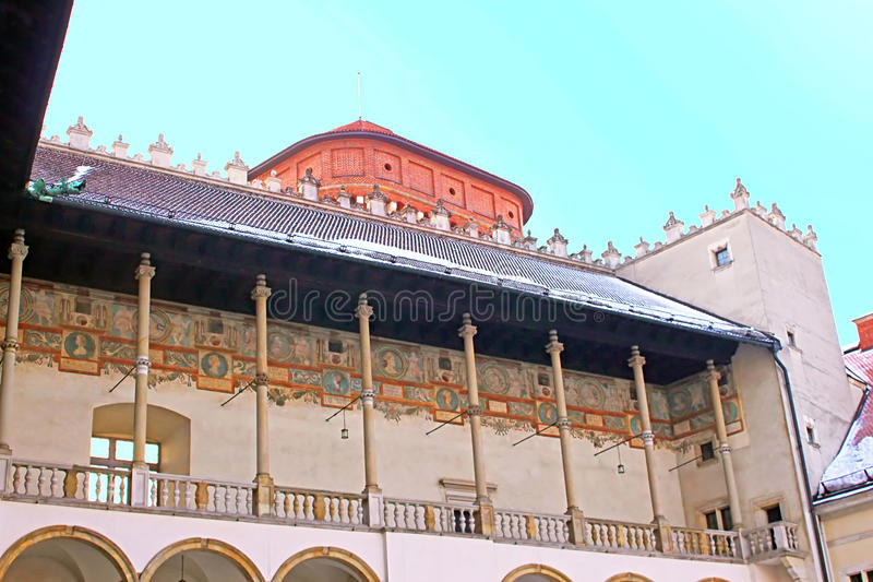 Yard `s roof of famous Wawel castle in Krakow. Poland stock image