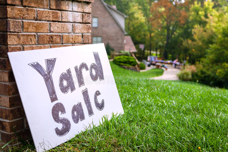 Yard sale. Closeup image of a yard sale sign royalty free stock photography