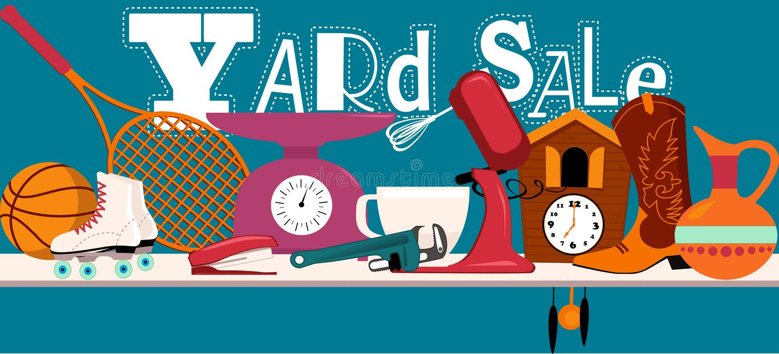Yard sale sign. Yard sale banner with assorted household and sport items lying on a table, EPS 8 vector illustration, no transparencies vector illustration